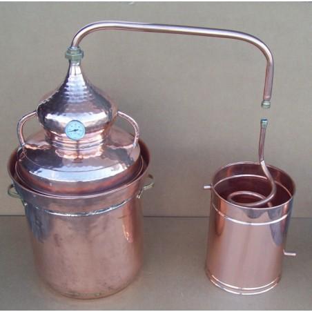 Alambic en cuivre a fermeture d'eau de 40 litres Thermometre inclus
