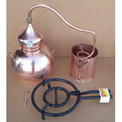 Alambic traditionnel 40 litres,  Thermomètre, Alcoomètre, grille de separation grille de gaz