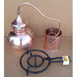 Alambique 40 litros tradicional, termometro, alcoholimetro, rejilla de cobre y quemador