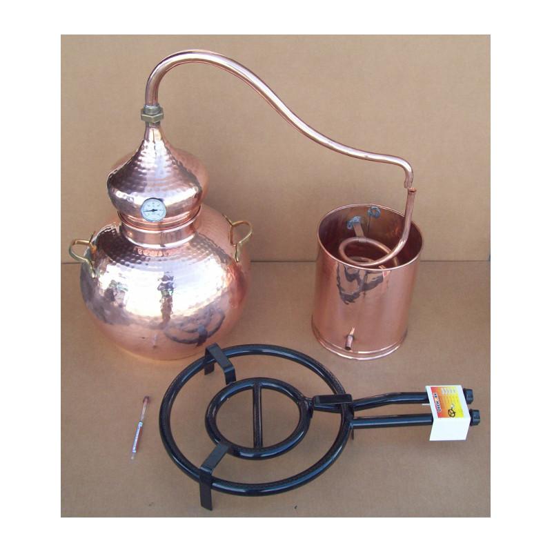 Alambicco tradizionale a 40 litri, Termometro, Etilometro griglia di rame, bruciatore a gas