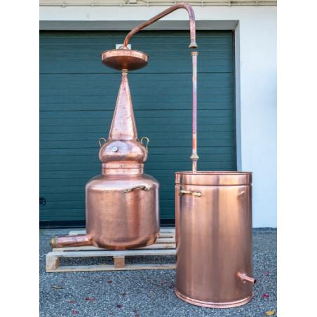 Alambique de cobre 150 litros whisky con termometro, alcolimetro y Lentilla de correction