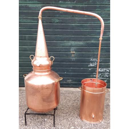 Alambicco in rame whisky di 100 litri con termometro e alcolometro.
