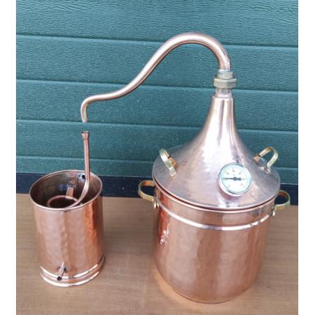 Alambic en cuivre pour plantes de 10 litres avec thermomètre