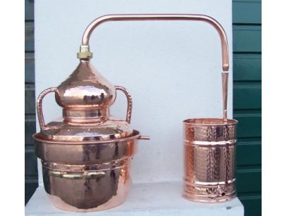 Alambique de cobre de 25 litros cierre a agua con termómetro