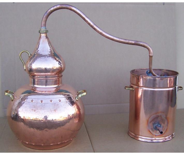 Alambicco tradizionale a 50 litri con termometro, griglia di rame, Etilometro, bruciatore a gas