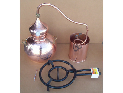 Alambicco tradizionale a 30 litri, Termometro, Etilometro, griglia di rame, bruciatore a gas