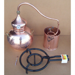 Alambic traditionnel 25 litres Thermomètre et Alcoomètre, grille de separation grille de gaz
