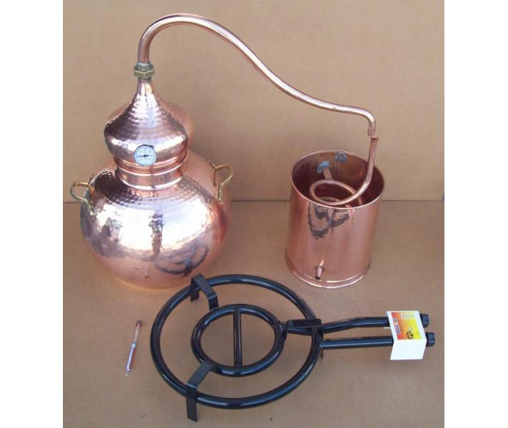 Alambique 25 litros tradicional con termometro, alcoholimetro, rejilla de cobre y quemador