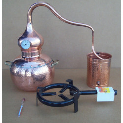 Alembic traditional to 10 liters Thermometer, Breathalyzer, copper grid, gas burner