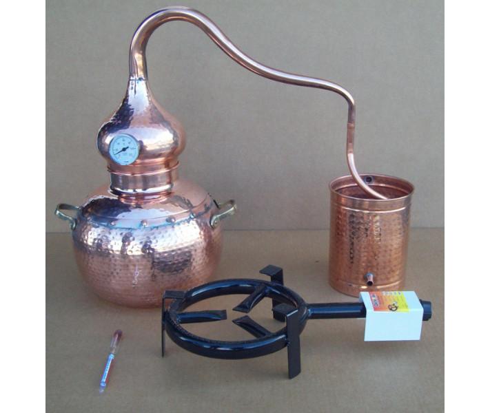 Alambique 10 litros tradicional con termometro, alcoholimetro, rejilla