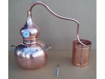 Alambique de cobre tradicional de 5 litros con termómetro y alcoholímetro.