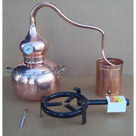Alambicco tradizionale a 15 litri, Termometro, Etilometro griglia di rame, bruciatore a gas, tutto compreso