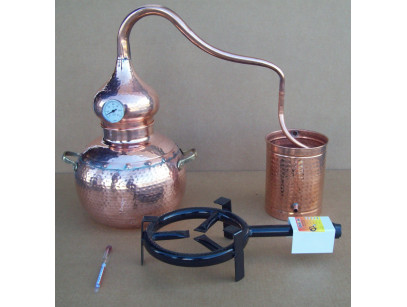 Alambicco tradizionale in rame a 15 litri, Termometro, Etilometro griglia di rame, bruciatore a gas, tutto compreso