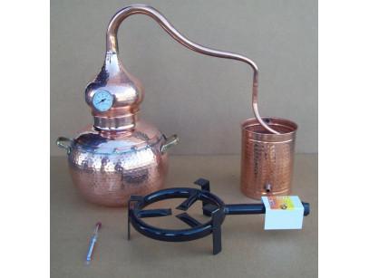 Alambique tradicional de cobre de 15 litros termómetro, alcoholímetro, rejilla de cobre y quemador de gas.