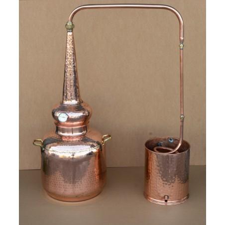 Alambicco in rame whisky di 60 litri con termometro e alcolometro.